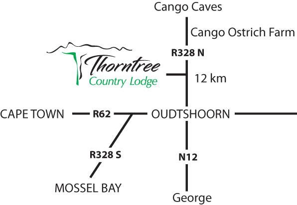 map to thorntree country lodge oudtshoorn